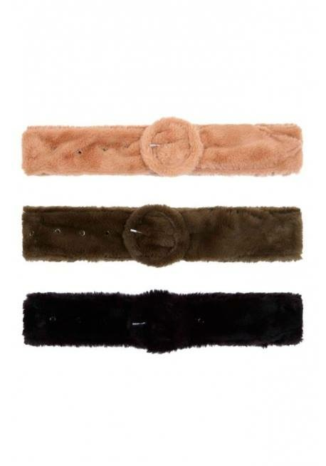 Faux Furry Wide Belt - Lunacy Boutique Mad About Fashion