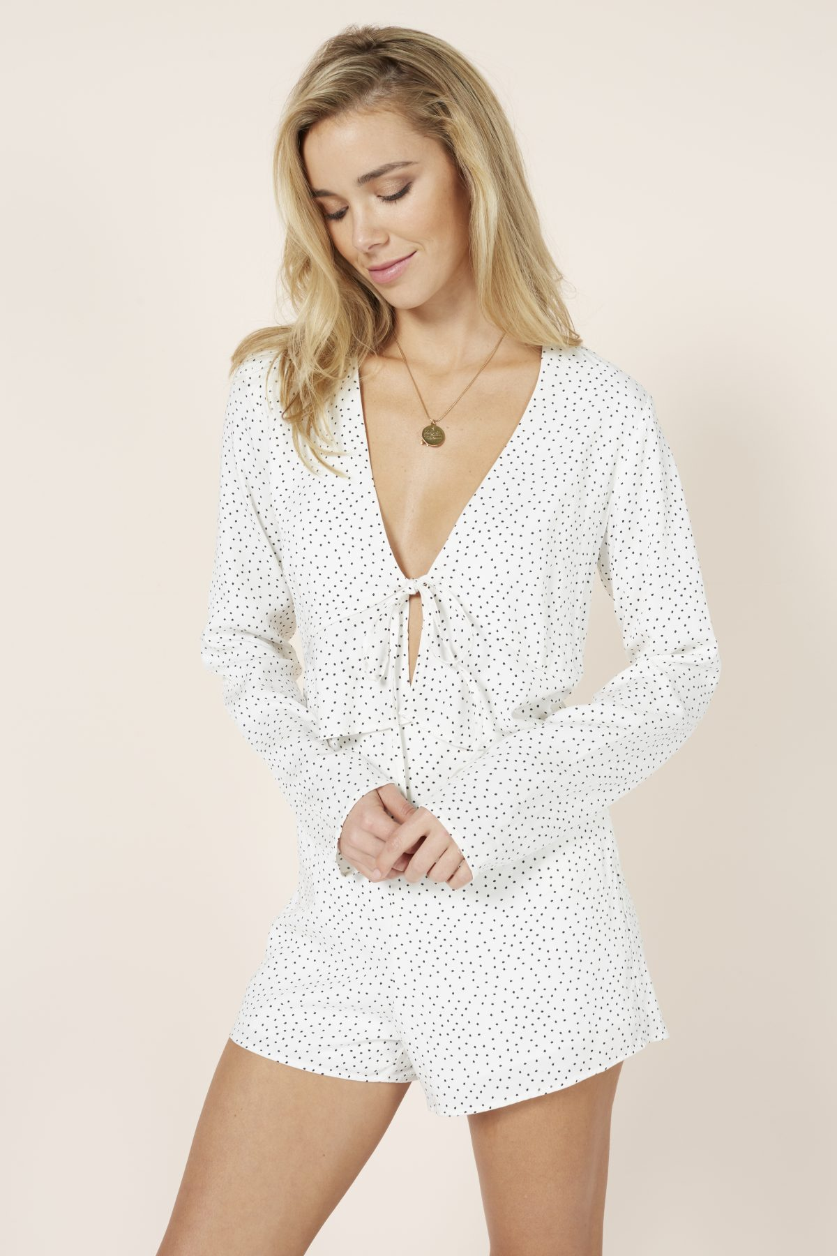 Polka Dot Frill Playsuit - Lunacy Boutique Mad About Fashion
