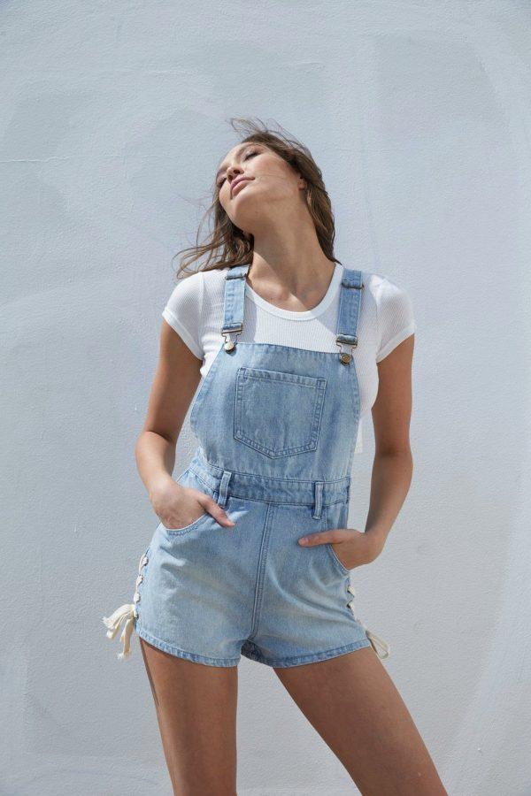 lace Up Denim Short Dungarees - Lunacy Boutique Mad About Fashion