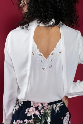 White Embroidered Back Shirt Blouse - Lunacy Boutique Mad About Fashion