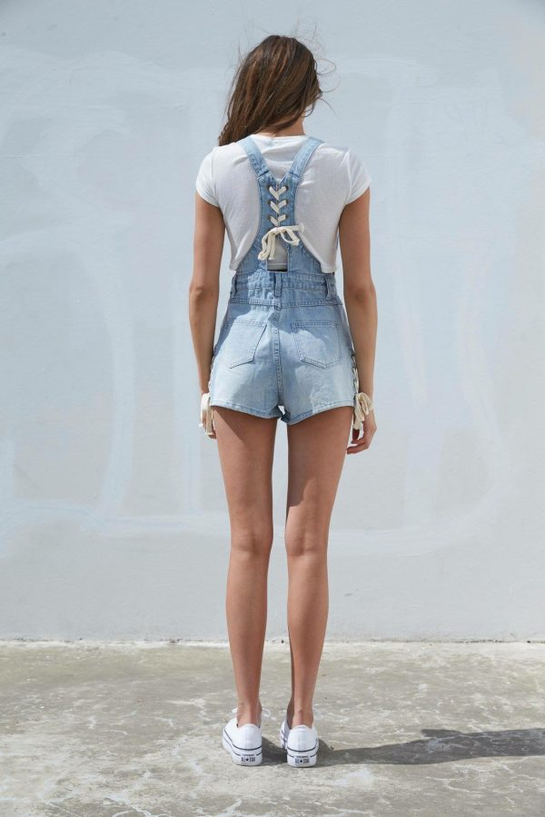 lace Up Denim Short Dungarees - Lunacy Boutique Mad About Fashion