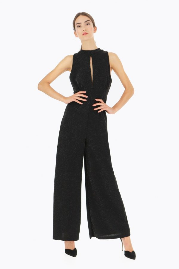 Stretchy Silver Fleck Seventies Jumpsuit - Lunacy Boutique Mad About Fashion