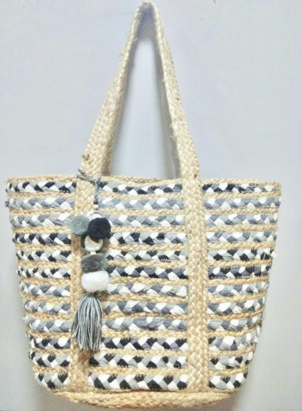 Multi Tonal Grey Basket Beach Bag - Lunacy Boutique Mad About Fashion