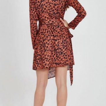 Tangerine Leopard Slit Wrap Dress - Lunacy Boutique Mad About Fashion