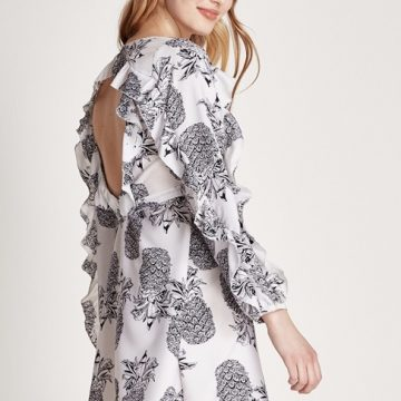 Pineapple Print Backless Wrap Dress - Lunacy Boutique Mad About Fashion
