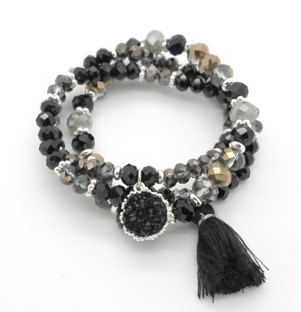 Druzy Charm Faceted Bead Triple Bracelet - Lunacy Boutique Mad About Fashion
