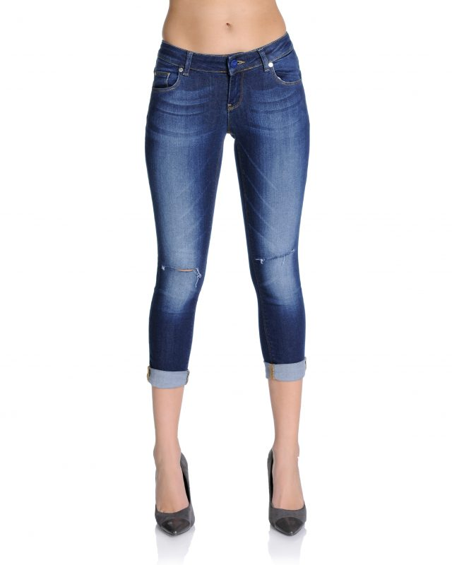 Cropped Slashed Knee Jeans - Lunacy Boutique Mad About Fashion