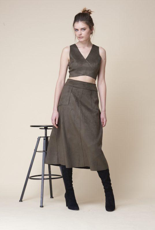 Khaki Suedette Bralette Crop Top - Lunacy Boutique Mad About Fashion