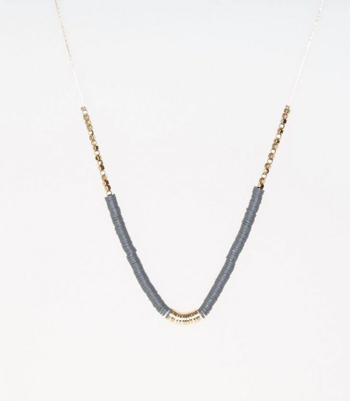 Grey & Gold Beaded Necklace - Lunacy Boutique Mad About Fashion