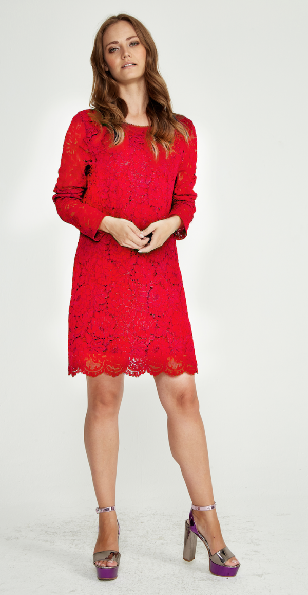 Red Lace Tunic Shift Dress - Lunacy Boutique Mad About Fashion