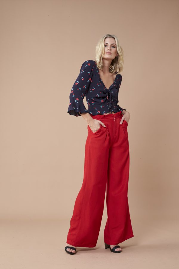 Cherry Ruched Top - Lunacy Boutique Mad About Fashion