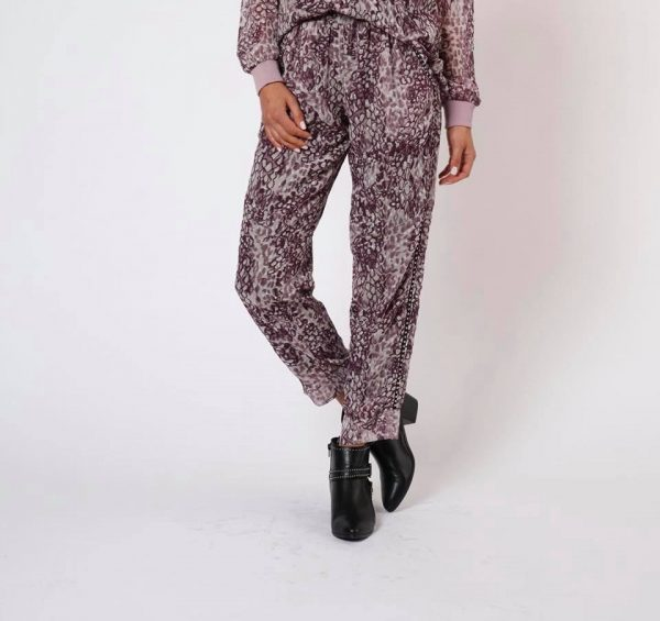 Purple Leopard Print Stud Trim Trousers - Lunacy Boutique Mad About Fashion