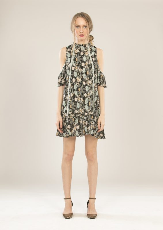 Floral Crinkle Cold Shoulder Dress - Lunacy Boutique Mad About Fashion
