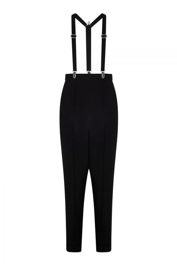 Braces black High waisted Trousers